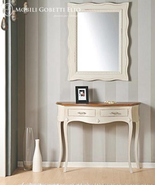 Consolle con specchiera laccato bianco